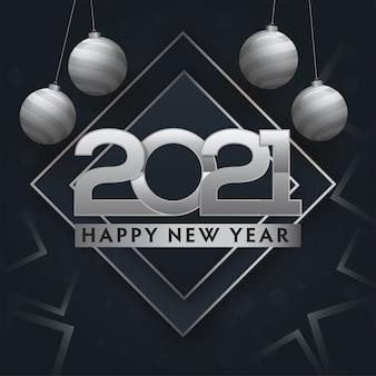 Srebrny tekst szczęśliwego nowego roku 2021