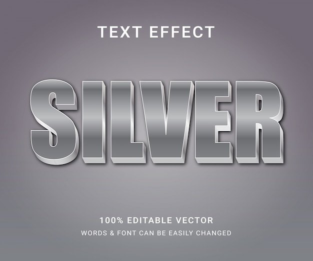 Srebrny w pełni edytowalny efekt tekstowy