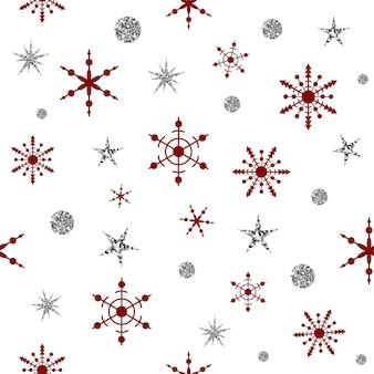 Srebrny wzór boże narodzenie z czerwonymi płatkami śniegu