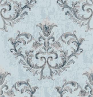 Srebrny wzór tekstury rokoko z kwiatowymi ornamentami