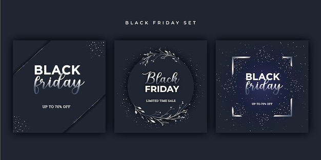 Srebrny zestaw bannerów black friday