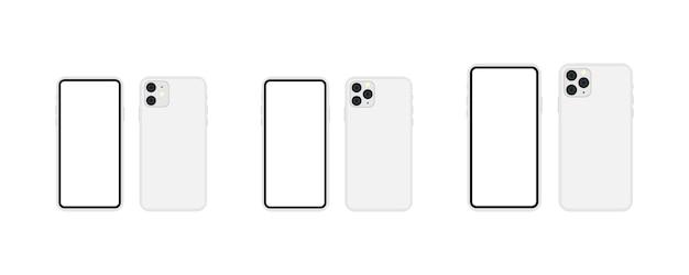 Srebrny zestaw do smartfona. model smartfona 11, 11 pro, 11 pro max w makiecie w kolorze srebrnym. wektor eps 10
