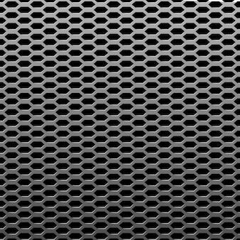 Srebro lub stal tekstura tło metalowe. realistyczna struktura blachy perforowanej. chromowany wzór powierzchni przemysłowej. ilustracja