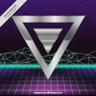 Srebro trójkąt geometryczne tle