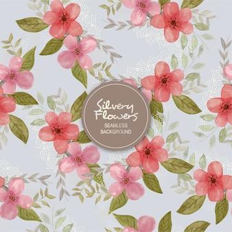 Srebrzyste kwiaty bezszwowe tło