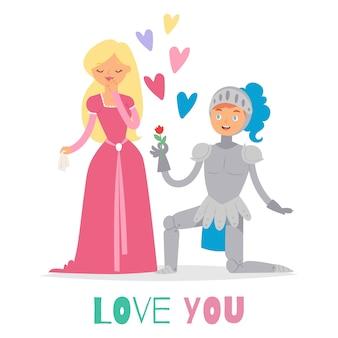 Średniowieczna bajka miłość rycerz i księżniczka postaci z kreskówek ilustracja.
