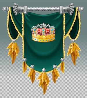 Średniowieczna flaga z koroną do gry.