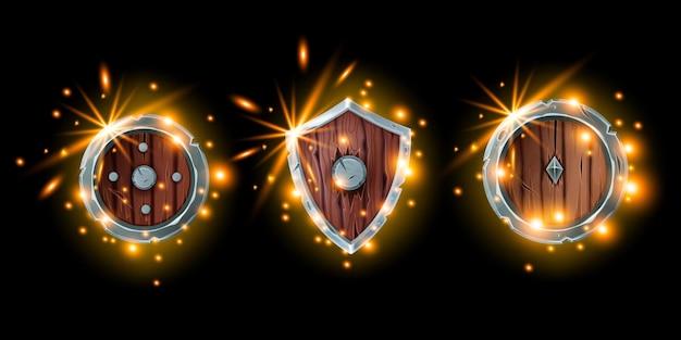 Średniowieczna gra tarcza zestaw ikon fantasy drewniany rycerz zbroja zestaw magiczny rpg wojownik ekwipunek ogień