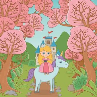 Średniowieczna księżniczka i koń bajkowego projektu