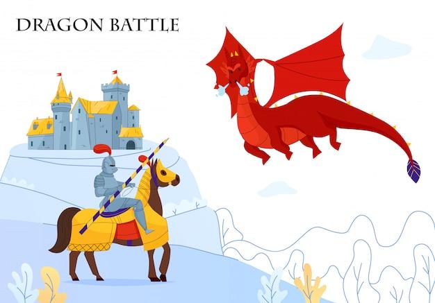 Średniowieczna opowieść opancerzony jeździec walczący latający ogień oddychający smok płaski kolorowy skład zamku