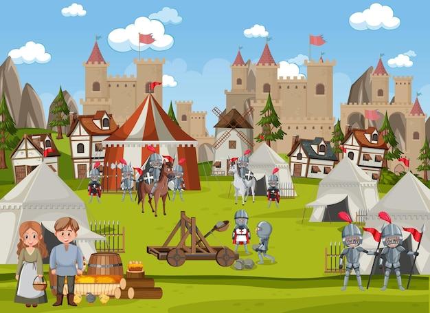 Średniowieczna scena miasta z mieszkańcami wioski