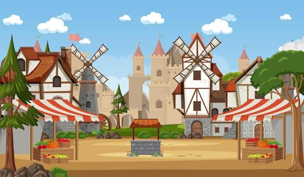 Średniowieczna scena miasta z rynkiem