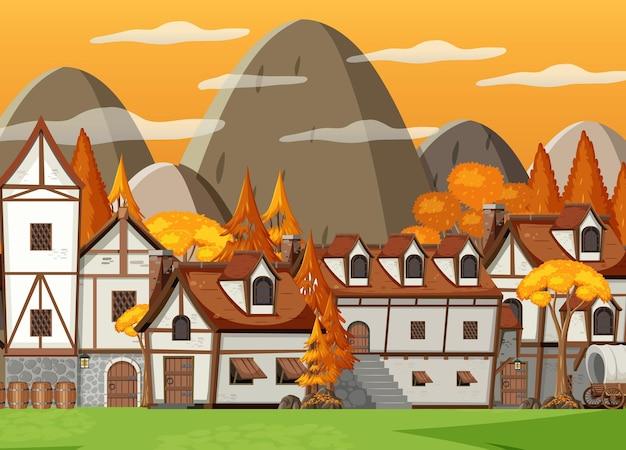 Średniowieczna scena wioski z tłem wzgórz