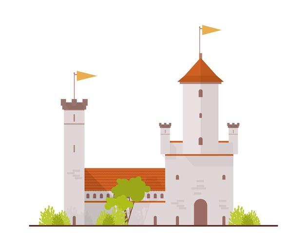 Średniowieczna twierdza i brama na białym tle
