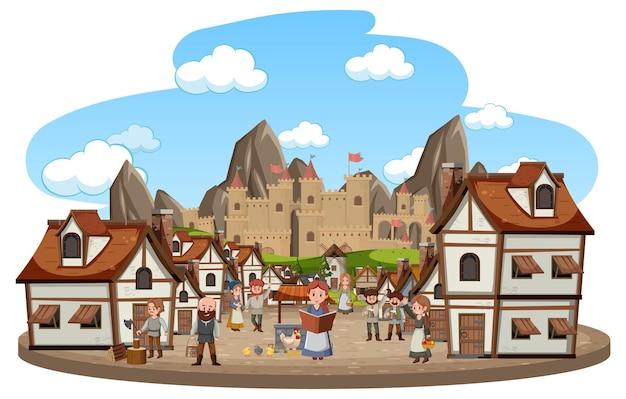 Średniowieczna wioska z mieszkańcami na białym tle