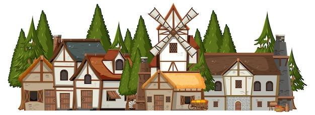 Średniowieczna wioska z sosnowym lasem
