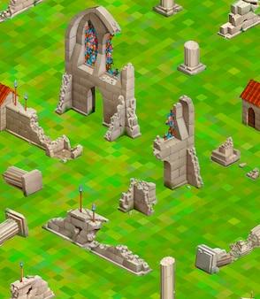 Średniowieczne budynki na zielonej trawie, izometryczny wzór