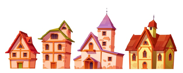 Średniowieczne budynki, zestaw architektury miejskiej