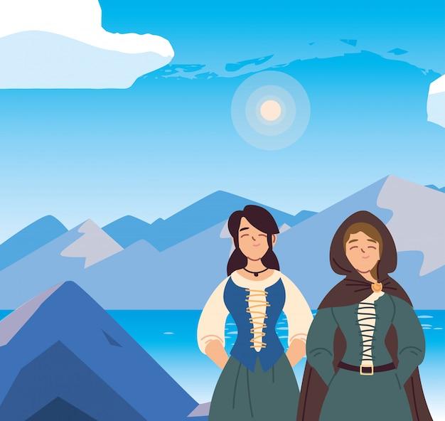 Średniowieczne kobiety z sukienką przed krajobrazem królestwa i bajki
