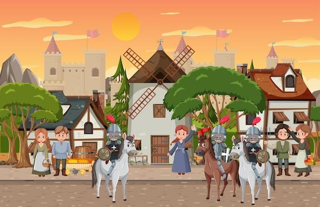 Średniowieczne miasto o zachodzie słońca z mieszkańcami wioski