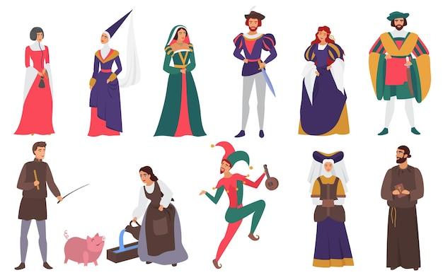 Średniowieczne postacie ludzi w zestawach kostiumów