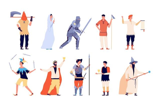 Średniowieczne postacie. wróżka i rycerz, chłop i kat, czarodziej i król, wojownik i joker bajkowy wektor kreskówka zestaw