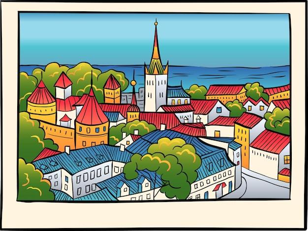 Średniowieczne stare miasto, kościół baptystów św. olafa i mur miejski w tallinie w stylu szkicu.