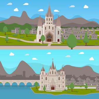 Średniowieczne starożytne świątynie kompozycje horyzontalne