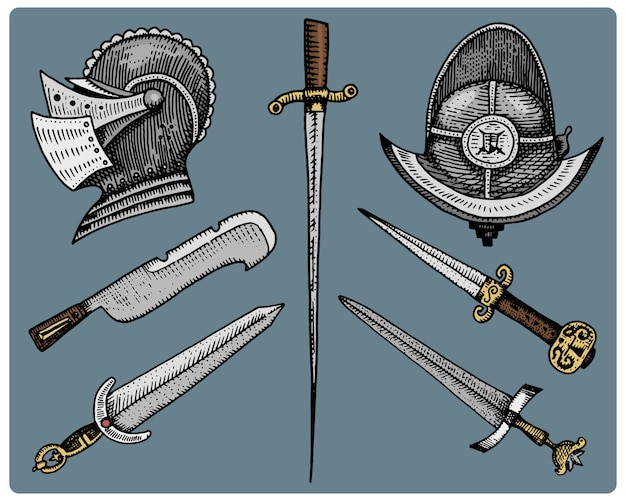 Średniowieczne symbole, hełm i miecze, vintage nóż, grawerowane
