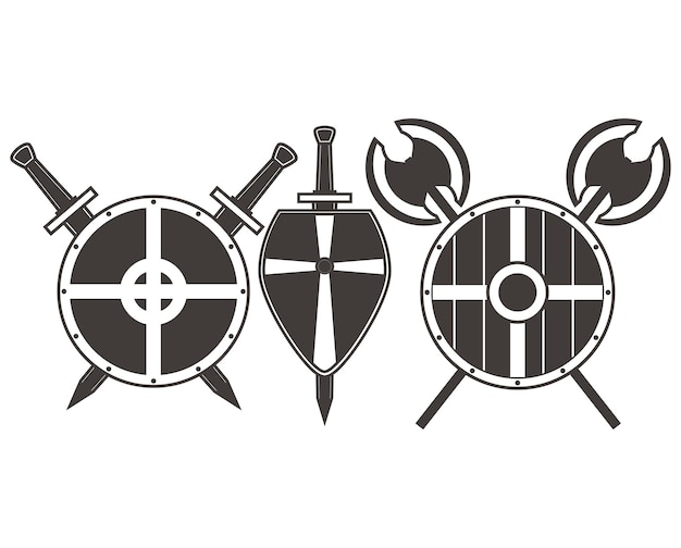 Średniowieczne tarcze i topory mieczy