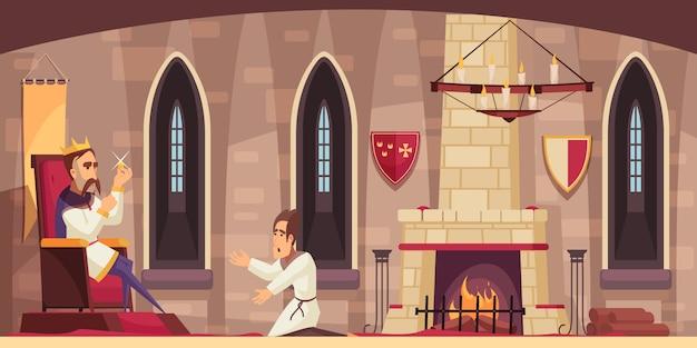 Średniowieczne wnętrze zamku sala z królem na tronie trzyma skradziony skarb i klęcząc sługę kreskówka