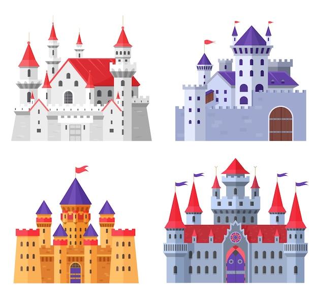 Średniowieczne zamki forteczne kreskówka zestaw na białym tle