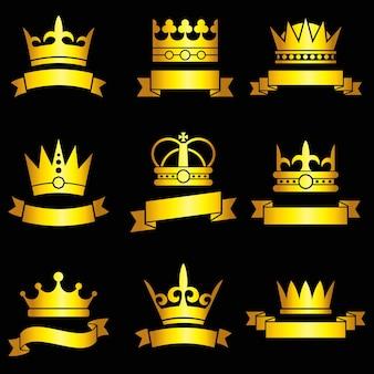 Średniowieczne złote korony i zestaw wstążek
