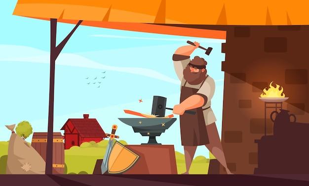 Średniowieczni ludzie kompozycja kowala duży muskularny mężczyzna wykuwa żelazny przedmiot w kuźni