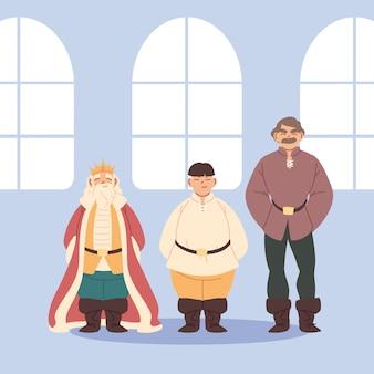 Średniowieczni mężczyźni i król w projektowaniu pokoju królestwa i bajki