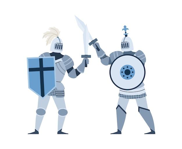 Średniowieczni rycerze walczący na miecze płasko na białym tle