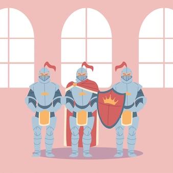 Średniowieczni rycerze ze zbrojami i tarczą projektu królestwa i baśni