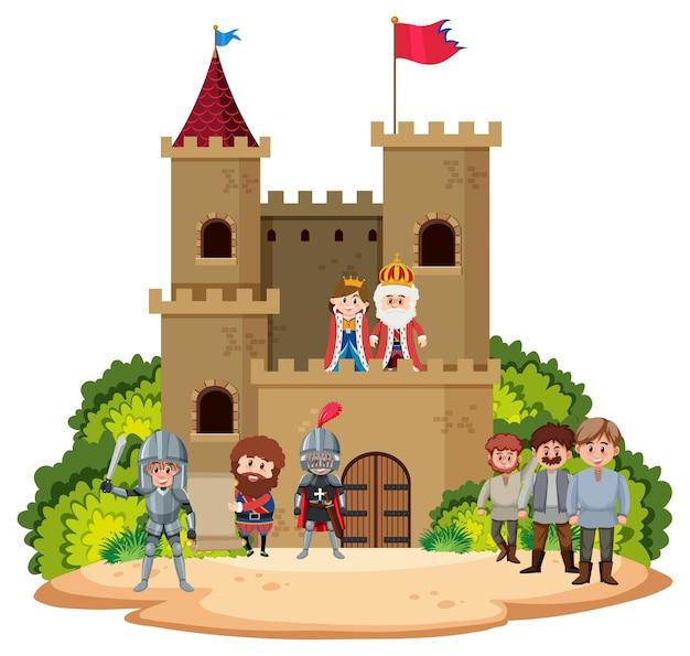 Średniowieczny historyczny zamek z rodziną królewską