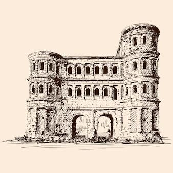 Średniowieczny kamienny zamek z wieżami i łukami.