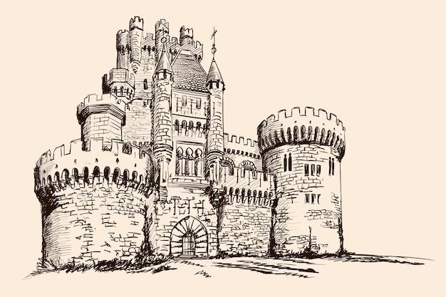 Średniowieczny kamienny zamek z wieżami na równinie.
