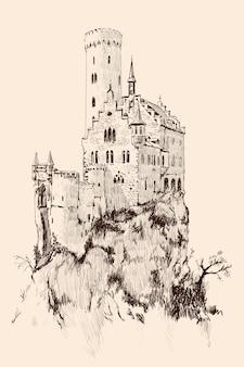 Średniowieczny kamienny zamek z wieżami na wysokim klifie.