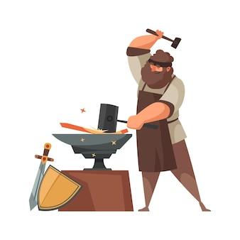Średniowieczny kowal robi miecze i tarcze na kowadle