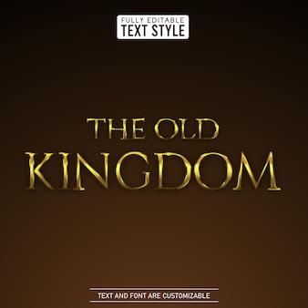 Średniowieczny metaliczny złoty królestwo efekt edytowalny tekst