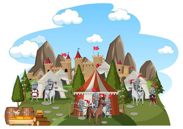 Średniowieczny obóz wojskowy na białym tle
