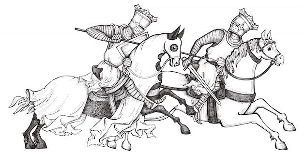Średniowieczny rycerz. król. jeździec w zbroi pocztowej na koniu.