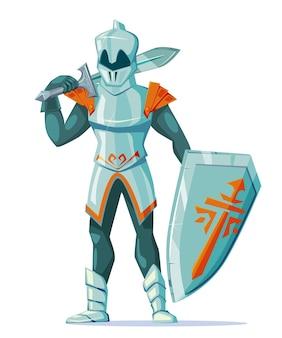 Średniowieczny rycerz w zbroi z mieczami i tarczą