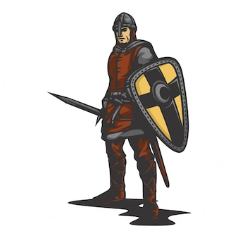 Średniowieczny rycerz wektor