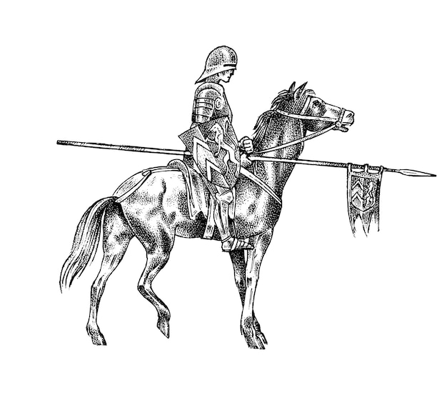 Średniowieczny rycerz zbrojny na koniu