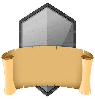 Średniowieczny szablon ze srebrną tarczą i banerem
