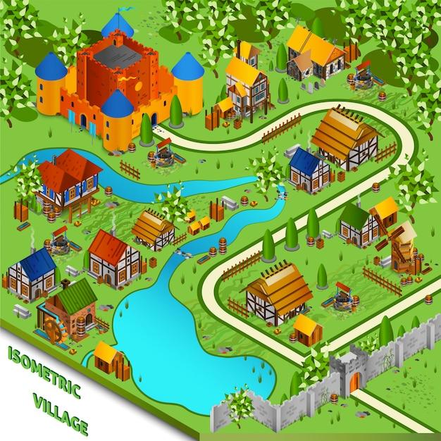 Średniowieczny wieś izometryczny krajobraz